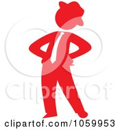 Royalty Free Vector Clip Art Illustration Of A Red Silhouetted Businessman Standing With His Hands On His Hips by Rosie Piter