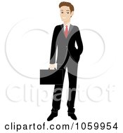 Royalty Free Vector Clip Art Illustration Of A Professional Caucasian Businessman In A Black Suit by Rosie Piter