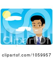 Royalty Free Vector Clip Art Illustration Of A Hispanic Businessman Near A Blue City