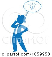 Blue Silhouetted Businessman With An Idea
