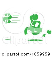 Royalty Free Vector Clip Art Illustration Of A Green Silhouetted Businessman Chasing A Dollar Symbol