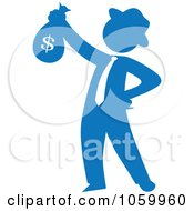 Blue Silhouetted Philanthropist Businessman Holding A Money Bag