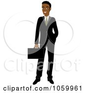 Royalty Free Vector Clip Art Illustration Of A Professional Black Businessman In A Black Suit
