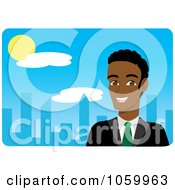 Royalty Free Vector Clip Art Illustration Of A Black Businessman Near A Blue City by Rosie Piter