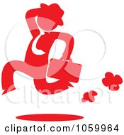 Royalty Free Vector Clip Art Illustration Of A Red Silhouetted Businessman Running by Rosie Piter