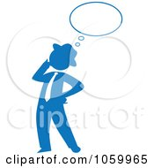 Blue Silhouetted Businessman Thinking