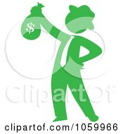 Green Silhouetted Philanthropist Businessman Holding A Money Bag