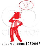 Red Silhouetted Businessman With An Idea