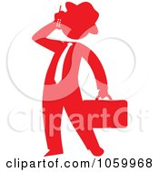 Red Silhouetted Businessman Talking On A Cellular Phone