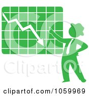 Green Silhouetted Businessman Discussing A Decline Chart