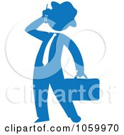 Blue Silhouetted Businessman Talking On A Cellular Phone