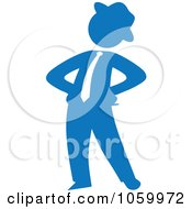 Blue Silhouetted Businessman Standing With His Hands On His Hips