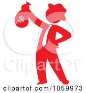 Red Silhouetted Philanthropist Businessman Holding A Money Bag