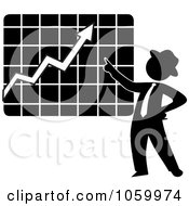 Black Silhouetted Businessman Discussing A Growth Chart