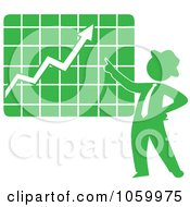 Royalty Free Vector Clip Art Illustration Of A Green Silhouetted Businessman Discussing A Growth Chart by Rosie Piter