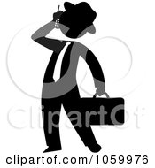 Royalty Free Vector Clip Art Illustration Of A Black Silhouetted Businessman Talking On A Cellular Phone