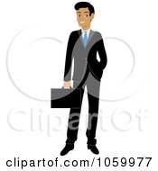 Royalty Free Vector Clip Art Illustration Of A Professional Hispanic Businessman In A Black Suit