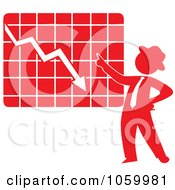 Royalty Free Vector Clip Art Illustration Of A Red Silhouetted Businessman Discussing A Decline Chart by Rosie Piter