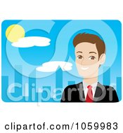 Royalty Free Vector Clip Art Illustration Of A Caucasian Businessman Near A Blue City by Rosie Piter