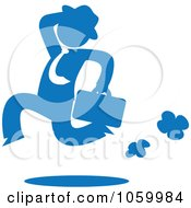 Blue Silhouetted Businessman Running