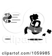 Royalty Free Vector Clip Art Illustration Of A Black Silhouetted Businessman Chasing A Dollar Symbol