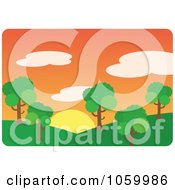 Royalty Free Vector Clip Art Illustration Of A Park With Hills And Trees At Sunset by Rosie Piter