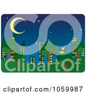 Royalty Free Vector Clip Art Illustration Of A Park And City Skyline At Night by Rosie Piter
