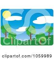 Royalty Free Vector Clip Art Illustration Of A Park With Hills And Trees by Rosie Piter