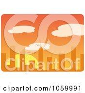 Royalty Free Vector Clip Art Illustration Of An Orange City Sunset Skyline by Rosie Piter