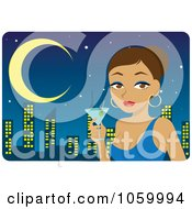 Royalty Free Vector Clip Art Illustration Of A Hispanic Woman Holding A Martini Against A City Skyline