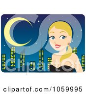 Royalty Free Vector Clip Art Illustration Of A Beautiful Blond Woman Dressed Up Against A Skyline by Rosie Piter