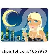 Royalty Free Vector Clip Art Illustration Of A Blond Woman Holding A Martini Against A City Skyline by Rosie Piter
