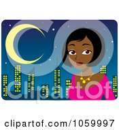 Royalty Free Vector Clip Art Illustration Of A Beautiful Black Or Indian Woman Dressed Up Against A Skyline