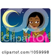 Royalty Free Vector Clip Art Illustration Of A Black Or Indian Woman Holding A Martini Against A City Skyline by Rosie Piter