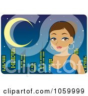 Royalty Free Vector Clip Art Illustration Of A Beautiful Hispanic Woman Dressed Up Against A Skyline
