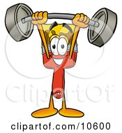 Paint Brush Mascot Cartoon Character Holding A Heavy Barbell Above His Head