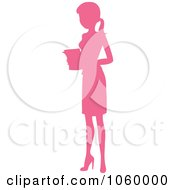 Royalty Free Vector Clip Art Illustration Of A Pink Silhouetted Businesswoman Holding Papers by Rosie Piter