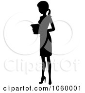 Royalty Free Vector Clip Art Illustration Of A Black Silhouetted Businesswoman Holding Papers by Rosie Piter