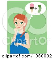 Royalty Free Vector Clip Art Illustration Of A Red Haired Pregnant Woman Craving Ice Cream And Pickles