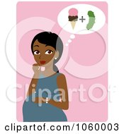Royalty Free Vector Clip Art Illustration Of A Black Pregnant Woman Craving Ice Cream And Pickles