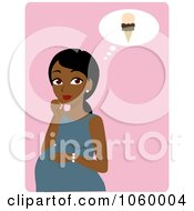 Royalty Free Vector Clip Art Illustration Of A Black Pregnant Woman Craving Ice Cream