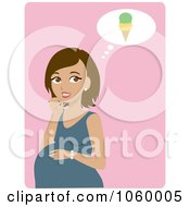 Royalty Free Vector Clip Art Illustration Of A Hispanic Pregnant Woman Craving Ice Cream by Rosie Piter