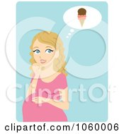 Royalty Free Vector Clip Art Illustration Of A Blond Pregnant Woman Craving Ice Cream