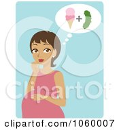 Royalty Free Vector Clip Art Illustration Of A Hispanic Pregnant Woman Craving Ice Cream And Pickles by Rosie Piter