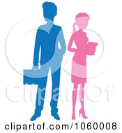 Royalty Free Vector Clip Art Illustration Of A Silhouetted Business Man And Woman