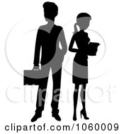 Royalty Free Vector Clip Art Illustration Of A Black Silhouetted Business Man And Woman by Rosie Piter