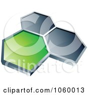 Royalty Free Vector Clip Art Illustration Of A Green Honeycomb Connected To Two Silver Ones