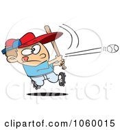 Royalty Free Vector Clip Art Illustration Of A Cartoon Baseball Boy Hitting A Home Run by toonaday