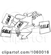 Royalty Free Vector Clip Art Illustration Of A Cartoon Black And White Outline Design Of A Salesman Holding Up Many Signs