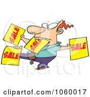 Royalty Free Vector Clip Art Illustration Of A Cartoon Salesman Holding Up Many Signs